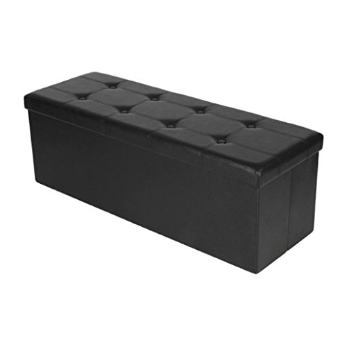 Sinma Storage Ottoman Bench, Portable Collapsible Faux Leather Cube Seat Footrest Foldable Storage Box Rest Stool (76x38x6cm, - Split Bench 60 Folding