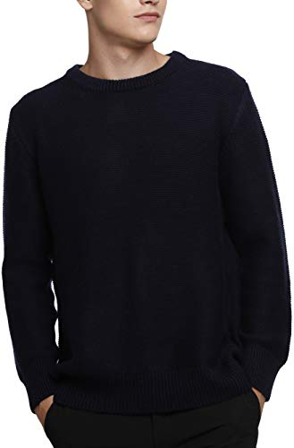 Liny Xin Men's Cashmere Knitted Casual Crew Neck Long Sleeve Loose Winter Wool Pullover Sweater Tops (S, Navy) ()
