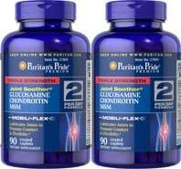 Fierté Force Triple glucosamine, chondroïtine et MSM de Pride Paquet de 2 puritain de Triple Strength Glucosamine, chondroïtine et MSM Joint Sucette puritain mixte Sucette-90 Pilules