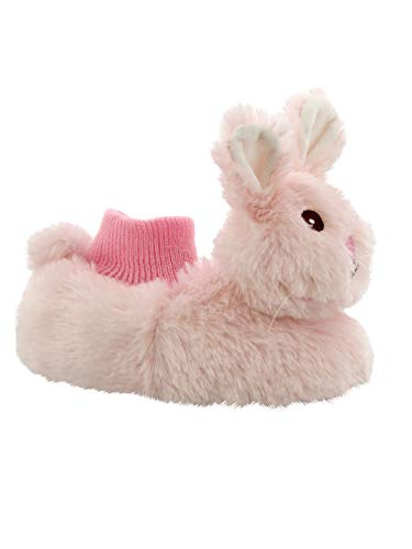 Yankee Toy Box Plush Animal Toddler Boys Girls Sock Top Slippers (7-8 M US Toddler, Bunny Pink)