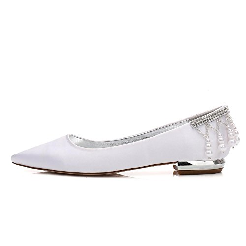 L@YC Women's Wedding Shoes 5047-14 Sandals Pearls Ankle Flat Bridal Court Shoes Party Ivory uBNkQlpfK5