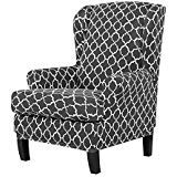 TIKAMI Wing Chair Slipcovers Stretch Wingback Armchair Cover 2-Piece Sofa Furniture Protector