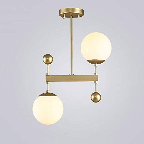 XAJGW 2 Lights Semi Flush Mount Ceiling Light Brushed Brass Mid Century Modern Chandelier Lighting Gold Ceiling Light Fixture for Dining Room Bed Room Kitchen Island Foyer Hallway (Color : ()