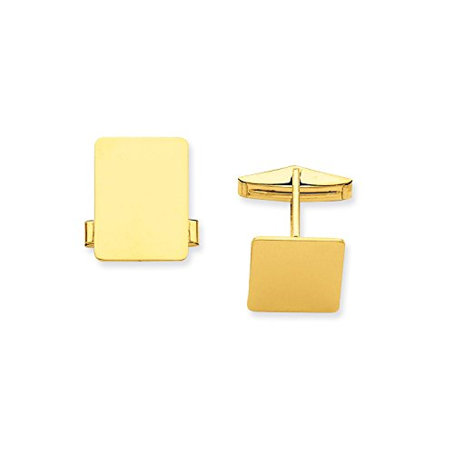 Roy Rose Jewelry 14K Yellow Gold Rectangular Cuff (Rose Gold Yellow Cufflinks)