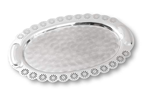 Silver Plated Decorative Tray - Royal India Daisy Collection - Food & Dessert Silver Wedding Dinner Party Platter with Floral Edge - Banquet Kebab Serving Oval Tray (15