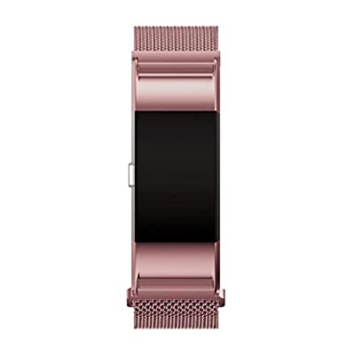 GBSELL Fashion Milanese Stainless Steel Watch Band Strap Bracelet + HD Film For Fitbit Charge 2