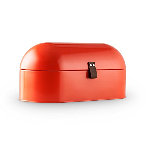 Klarstein Ciabatta Rossa 2 Metall-Brotkasten klappbar (14,5 L Brotbox, griffiges Lederband, Retro-Look) rot