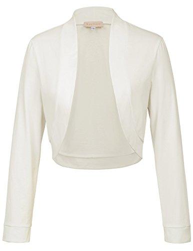 Kate Kasin Ladies Long Sleeve Cardigan Light Weight Open Front Shrug Bolero,Ivory,M,KK823-1 - Ivory Bolero