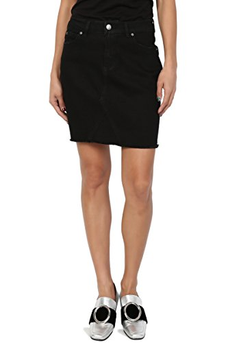 TheMogan Junior's Frayed Hem Slim Straight Short Mini Washed Denim Skirt Black L (Frayed Skirt Mini)