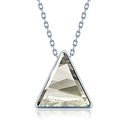 Ed Heart Pendant Necklace with Grey Silver Shade Triangle Crystals from Swarovski Silver Toned Rhodium Plated