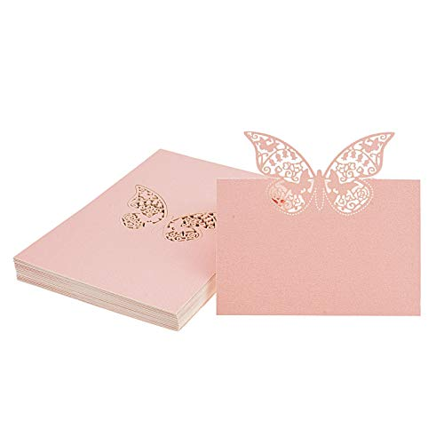 Kmall 50PCS Pink Butterfly Blank Card Laser Cut Table Carved Mark Place Name Cards Holder For Guest Engagement Birthday Wedding Birth Baptism Christmas Wedding Banquet Champagne Decoration Party Favor