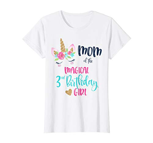 Womens Unicorn Mom of the 3rd Birthday Girl Shirt Matching Daughter ()