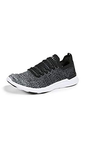 APL: Athletic Propulsion Labs Women's Techloom Breeze Sneakers, Black/Heather Grey/White, 8.5 M -