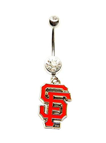 SAN Francisco Giants Baseball Team Clear Navel Belly Button Ring Body Jewelry Piercing 14 Gauge