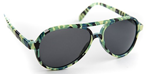 Kid's Aviator Sunglasses Camouflage Plastic Frams Scratch Resistant Tinted Lens for Children 3-9 (FDA Approved) (Green Camo, - Glasses Frams Eye
