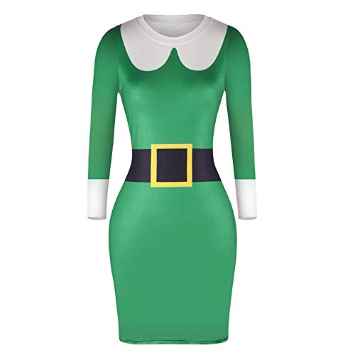 98374fa66fdb Christmas Dress for Women FEDULK Santa Claus Print Long Sleeve Bodycon Ladies  Midi Dress (Green3
