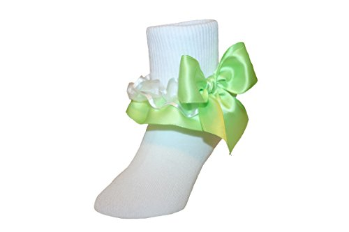 Satin Ankle Bow (Girls Ruffle Ankle Socks with Satin Organza & Bows in Assorted Colors (9-11 Girls, Lime))