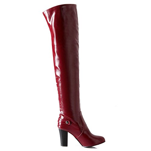 Chaussures Red Bottes Mode A Chunky Enfiler COOLCEPT Cuissarde Femmes Wine 6Hw1q1