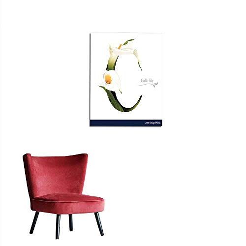 longbuyer Wallpaper Letter C Vector Alphabet with Calla Lily Flower ABC Concept Mural ()