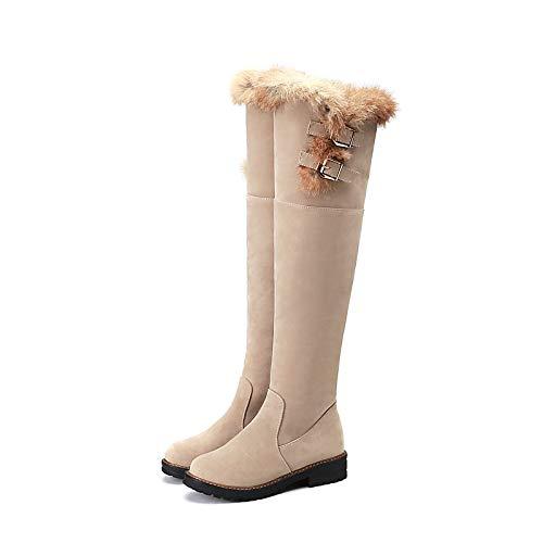 IWxez Damen Schneestiefel Wildleder Herbst Herbst Herbst & Winter Klassische Stiefel Chunky Heel Round Toe Overknee Stiefel Pom-Pom Schwarz Beige 065129