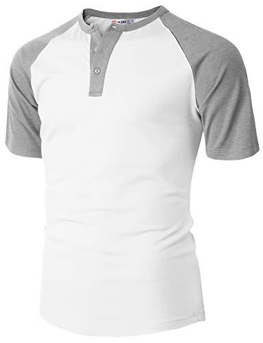 (H2H Mens Casual Slim Fit Henley T-Shirts Raglan Baseball Short Sleeve Ivory US XL/Asia 2XL (CMTTS236))