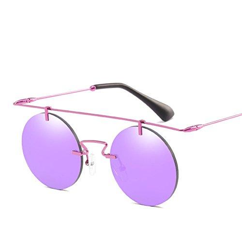 Gafas Sol De Gafas Sin Purple De Retro Black Antideslumbrante Redondo De Conducción Metal Marco Personalidad Marco Sol qRqrHnw5