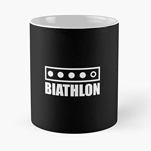 Biathlon Sports Cross Country Skiing Eat Sleep Play - Coffee Mugs Unique Ceramic Novelty Cup Best Gift
