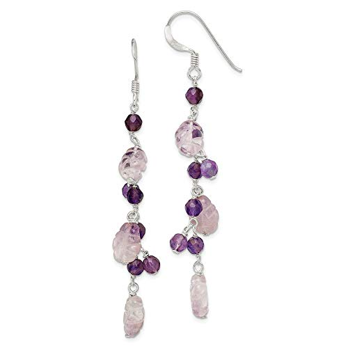 925 Sterling Silver Purple Amethyst Leaves Drop Dangle Chandelier Earrings Fine Jewelry Gifts For Women For - Silver Chandelier Amethyst Sterling