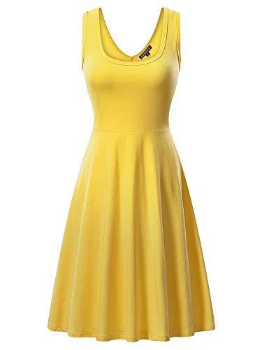 (FENSACE Womens Sleeveless Scoop Neck Summer Beach Midi A Line Tank Dress, Yellow, Medium )