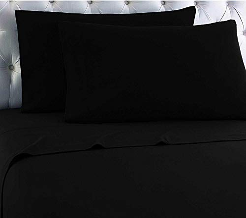 Empire Home Egyptian Collection 100% Cotton Flannel Sheet Set (Black, Twin Size)
