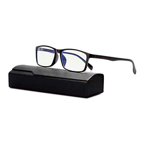 Gy Light - Gy Blue Light Blocking Glasses Men, Uv400 Transparent Lens, Comfortable Lightweight Tr90 Frame, Square Computer Glass for Women, Anti Blue Ray Blocking Gaming Eyeglass (Black)
