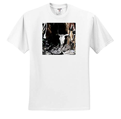Susans Zoo Crew Scenery - Cow Skull Cowboy Old west Scene Saddle - T-Shirts - Adult T-Shirt 5XL (ts_294115_8) ()