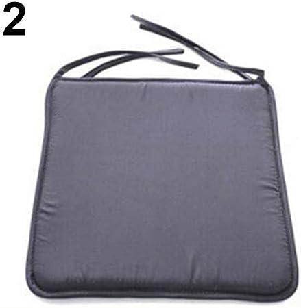 Deuba 4x Garden Chair Cushions Set 43 x 39 cm Foam Filled With Ties Seat Pads Padded Comfortable Plain Grey