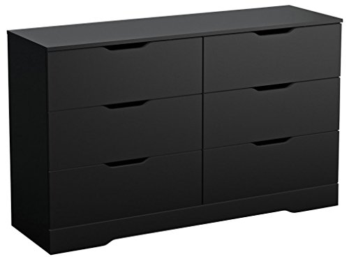 - South Shore Trinity Collection 6-Drawer Double Dresser, Pure Black with Cutout Handles