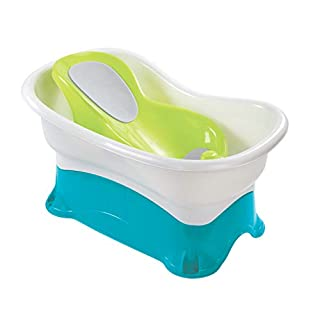 Summer Comfort Height Bath Tub – Elevated and Spacious Baby Bathtub with Newborn Bath Support – Extended Use Features Include Stand-Alone Kneeler and Stepstool