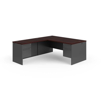 38000 Series L-Shaped Computer Desk Finish: Mahogany Charcoal, Orientation: Desk on the Right - Hon L-desk