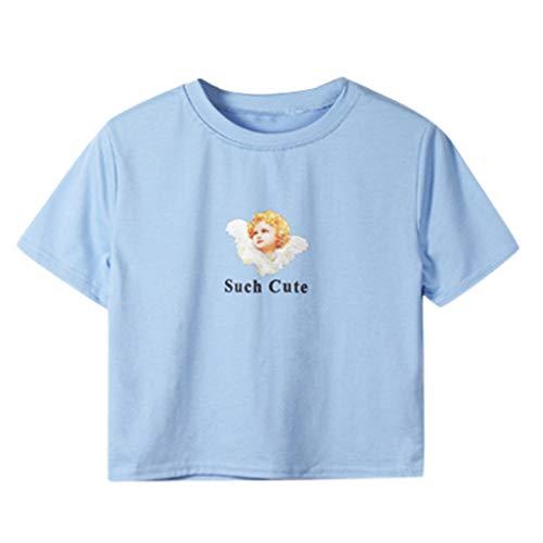 RIUDA Women Blouse Summer Fashion Print T Shirt O-Neck Short Sleeve T Shirt Crop Top Blue (Polo Horse Cookie Cutter)
