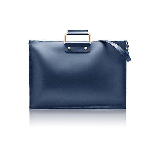 GERRY Bolsa italiana maletín de la computadora documentos carteras de mano con asas y correa para el hombro mensajero para portátiles y netbooks cuero liso rígido azul