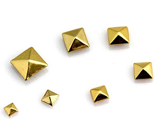 Pyramid Studs, 100 Pcs Nailheads Metal Punk Spikes Spots Square Rivets with Spikes (Gold, - Chrome Stud Pyramid