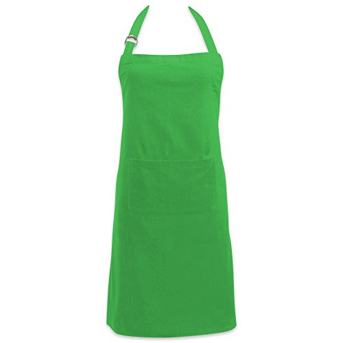 DII Cotton Adjustable Kitchen Chef Apron with Pocket and Extra Long Ties, 32 x 28, Commercial Men & Women Bib Apron for Cooking, Baking, Crafting, Work Shop, BBQ-Neon Green
