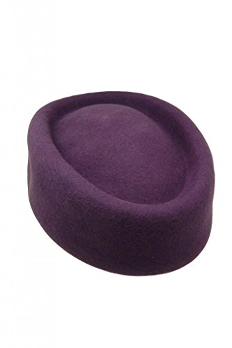 HATsanity Women's Vendimia Textura de lana Forma Rojoonda Sombrerería Pillbox Púrpura