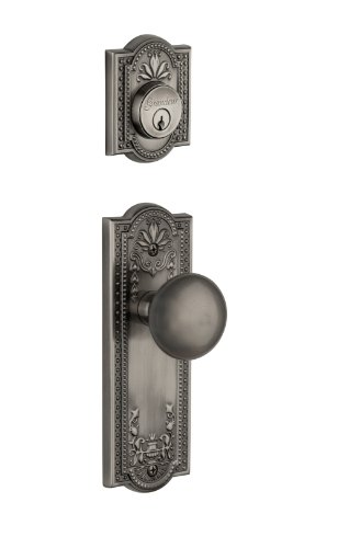 Grandeur Parthenon Plate with Fifth Avenue Knob and Matching Deadbolt Complete Single Cylinder Combo Pack Set, Antique Pewter ()