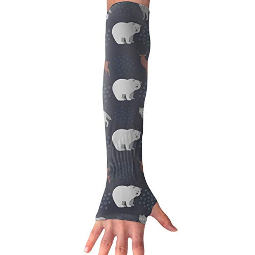 MASDUIH Fox Bear Horse Gloves Anti-uv Sun Protection Long Fingerless Arm Cooling Sleeve