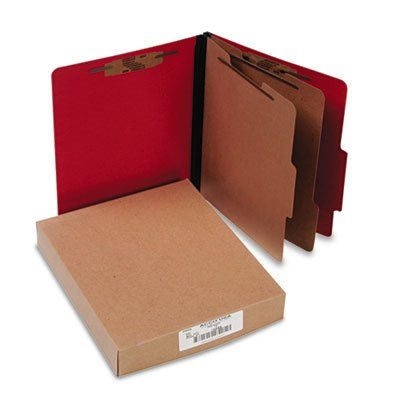 Presstex Classification Folders, Letter, Six-Section, Executive Red, 10/Box, Sold as 10 Each (Recycled Folder Presstex Classification)