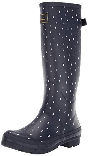 (Joules Women's Welly Print Rain Boot, Navy Raindrop, 7 Medium US)