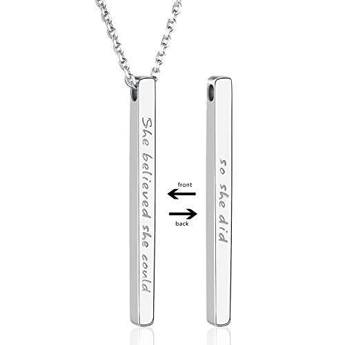Annis Munn 925 Sterling Silver Inspirational Bar Necklace Engraved 'She Believed she Could so she did' Jewelry Gift for Girls (Christian Birthday Wishes For 18 Years Old Girl)
