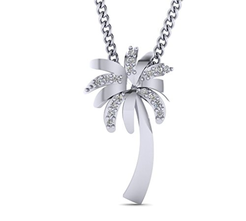 alm Tree Pendant Necklace Tree Diamond Pendant Necklace 0.06cts Natural Diamonds Gold Plated Silver ()