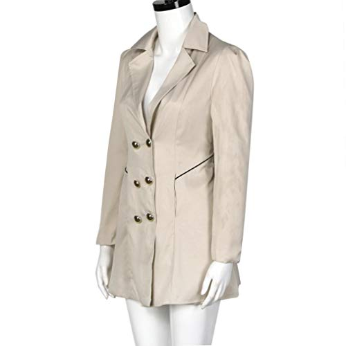Chic Simple Parka Tops de Vintage Taille l'hiver de ete Long Manteau Automne Manteau Trench Courte Grande Fashion Beige Femme col Revers Chaud de Coat HP04wqWt4