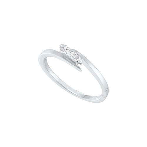10kt White Gold Womens Round Diamond 3 stone Promise Bridal Engagement Ring 1/10 Cttw