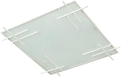 Tosel 40152 plafón Tokyo acero/Cristal 60 W E27, blanco, E27 60 ...